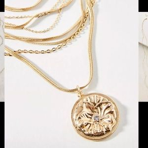 NEW Anthropologie Coin Layered Necklace